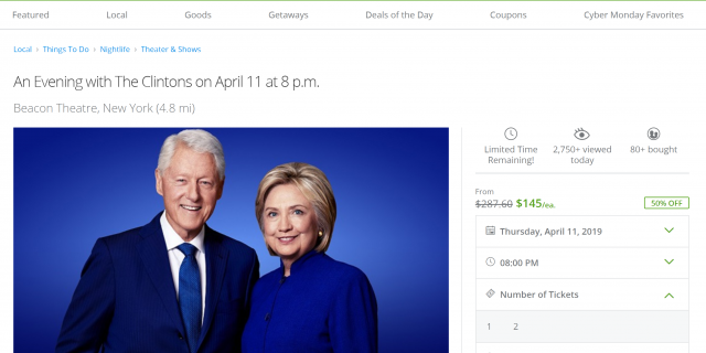 Tickets to an April 11 talk at the Beacon Theatre in New York – normally priced $287 – are going for $145 on Monday. (Screenshot)