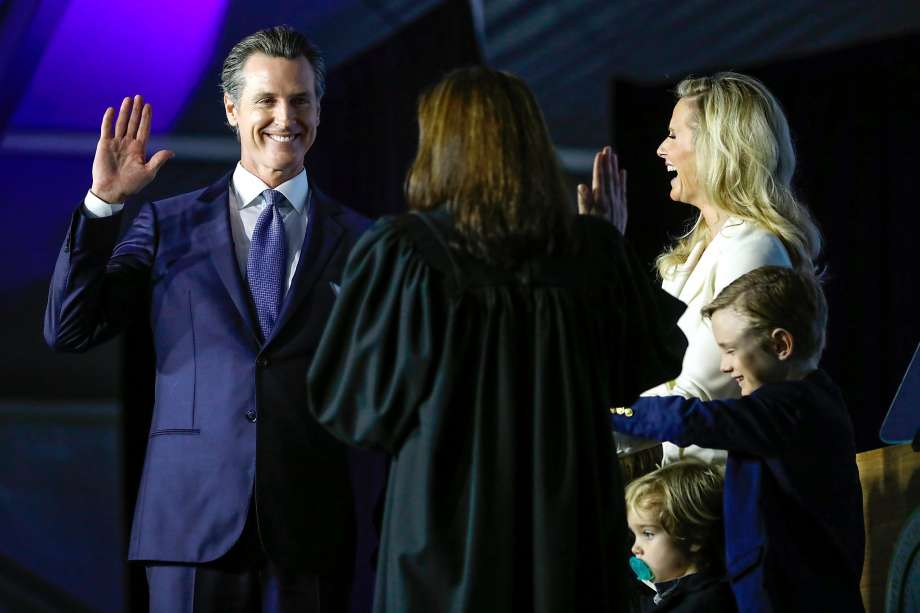 Governor-elect Gavin Newsom takes the oath of office during his inauguration ceremony in Sacramento, California, on Monday, January 7th, 2019. Photo: Gabrielle Lurie / The Chronicle