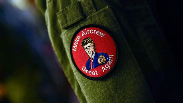 Service members wear 'Make Aircrew Great Again' patches in Japan