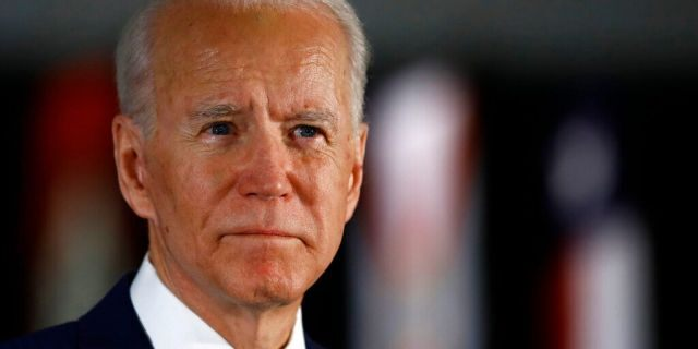 In this March 10, 2020, file photo Democratic presidential candidate former Vice President Joe Biden speaks to members of the press at the National Constitution Center in Philadelphia. (AP Photo/Matt Rourke)