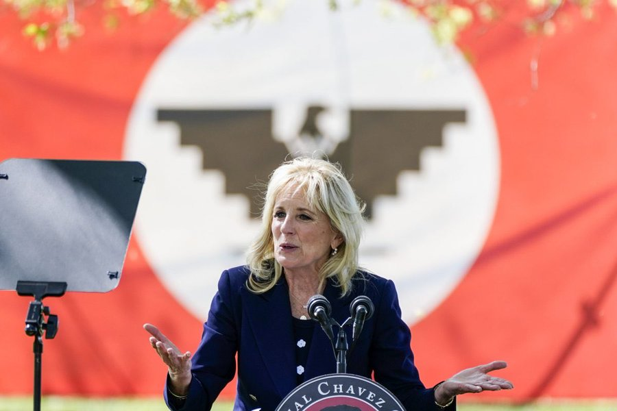 Jill Biden Went To Pander To Chavez Lovers And Broke The Spanish Language In Front Of A Nazi Inspired Flag
